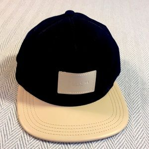 Coach Leather Logo, Leather on top of brim cap